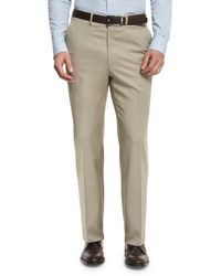 Brioni - Phi Flat-front Solid Wool Trousers - Lyst