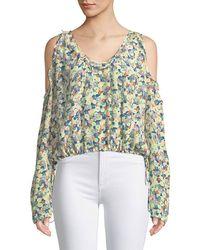 Zadig & Voltaire - Tea Flower Cold-shoulder Long-sleeve Silk Top - Lyst