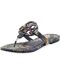6571877185f Tory Burch - Miller Medallion Floral-print Leather Flat Thong Sandals - Lyst