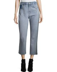3.1 Phillip Lim - Straight-leg Cropped Jeans With Side Zipper Detail - Lyst