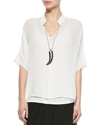 Eileen Fisher - 3/4-sleeve Silk Box Top - Lyst