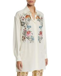 Etro - Floral-embroidered Button-front Blouse - Lyst