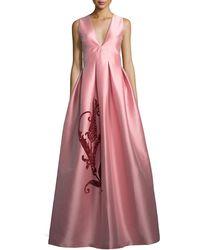 Sachin & Babi - Embroidered Tulip Taffeta Sleeveless Gown - Lyst