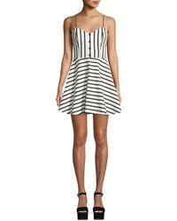 Alice + Olivia - Nella Striped Button-front Mini Dress - Lyst