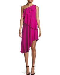 MILLY - Nora One-shoulder Asymmetric Ruffled Tiered Stretch-silk Dress - Lyst