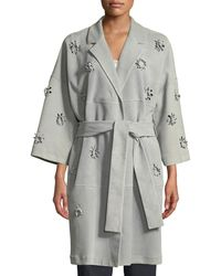 ESCADA - 3-d Floral Belted Suede Trench Coat - Lyst