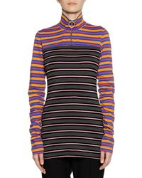 Marni - Long-sleeve Zip-collar Multi-stripe Jersey Knit Shirt - Lyst