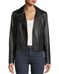 Neiman Marcus - Asymmetric Zip-front Long-sleeve Lamb Leather Moto Jacket - Lyst