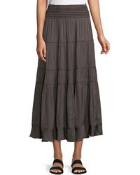 Halston - Smocked-waist A-line Midi Skirt - Lyst
