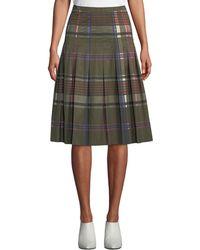 Akris Punto - Pleated Plaid Midi Bell Skirt - Lyst