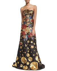 Naeem Khan - Metallic Floral Brocade Strapless Evening Gown - Lyst