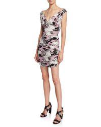 0e8a37acc9b Norma Kamali - Tara Floral V-neck Sleeveless Mini Shirred Dress - Lyst