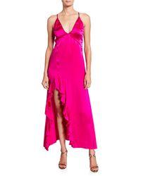 Nightcap - Getaway V-neck Cross-back Satin Slip Dress W/ Ruffled Slit - Lyst