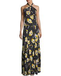 Michael Kors - Floral-print Halter-neck Georgette Column Gown - Lyst