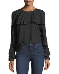 Ella Moss - Stella Round-neck Long-sleeve Top With Ruffled Trim - Lyst