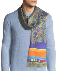 Etro | Sciarpa Men's Paisley And Stripe Fringe Scarf | Lyst