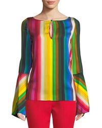 MILLY - Tina Rainbow Georgette Top - Lyst