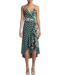 Diane von Furstenberg - Katsia Floral Print Crepe Wrap Dress - Lyst
