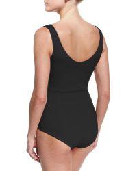 La Petite Robe Di Chiara Boni   Naky V-neck Gathered One-piece Swimsuit   Lyst