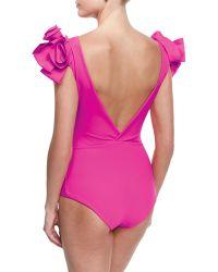 La Petite Robe Di Chiara Boni   Belvisette V-neck Two Rose One-piece Swimsuit   Lyst