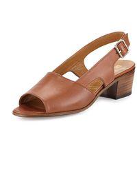 Gravati - Leather Slingback Mid-heel Sandal - Lyst