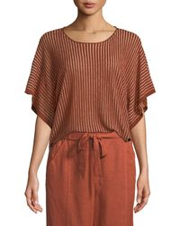 Eileen Fisher - Short-sleeve Vertical Striped Organic Sweater - Lyst