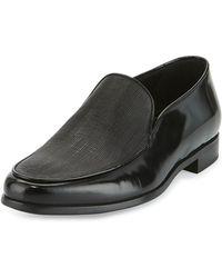 Giorgio Armani - Saffiano Leather Venetian Loafer - Lyst