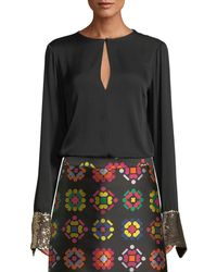 MILLY - Mara Stretch-silk Top W/ Sequin Cuffs - Lyst