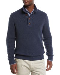Neiman Marcus - Men's Collared Organic Cotton Pullover Sweater - Lyst