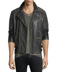 True Religion - Aged Leather Biker Jacket - Lyst