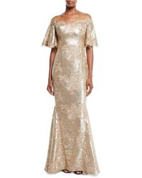 Teri Jon - Off-the-shoulder Bell-sleeve Stretch-sequin Evening Gown - Lyst