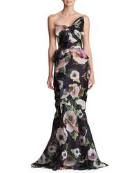Marchesa - Strapless Floral-print Silk Moire Evening Gown W/ Draped Bow & Corset - Lyst