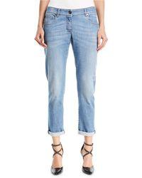 Brunello Cucinelli - Distressed Straight-leg Denim Jeans W/rolled Hem - Lyst