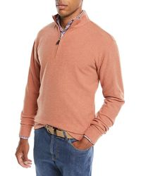 Peter Millar - Melange Tri-blend Fleece 1/4-zip Sweater - Lyst