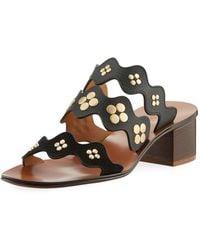b4915089ee2 Chloé - Lauren Studded Block-heel Slide Sandal - Lyst