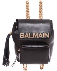 Balmain - Leather Chain Backpack - Lyst