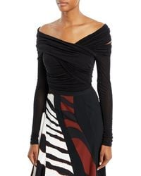 Roberto Cavalli - Off-the-shoulder Long-sleeve Draped Jersey Bodysuit - Lyst