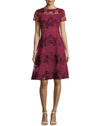Aidan Mattox   Short-sleeve Floral Lace Cocktail Dress   Lyst