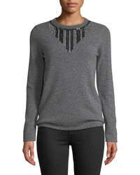 Neiman Marcus - Embellished-front Cashmere Pullover Sweater - Lyst