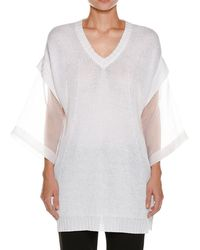 Piazza Sempione - Organza-sleeve Linen-blend Knit Tunic - Lyst