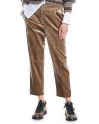 Brunello Cucinelli - Straight-leg Cropped Velvet Pants W/ Pleats - Lyst