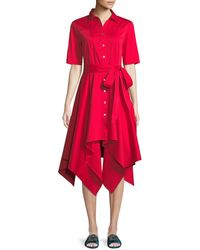 Badgley Mischka - Lucy Shirt Dress W/ Hanky Hem - Lyst