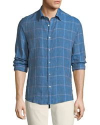 Michael Kors - Men's Hartman Linen Plaid Button-down Shirt - Lyst