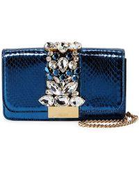Gedebe - Cliky Mini Jeweled Snakeskin Clutch Bag - Lyst