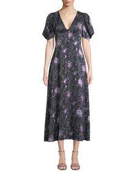 LoveShackFancy - Delaney Floral Button-front Silk Long Dress - Lyst
