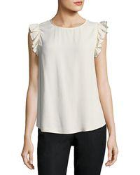 Ba&sh - Fina Round-neck Flutter-sleeve Blouse - Lyst