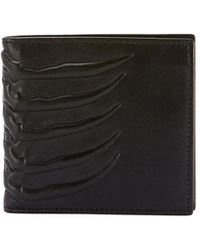 Alexander McQueen - Men's Rib Cage-embossed Leather Bi-fold Wallet - Lyst