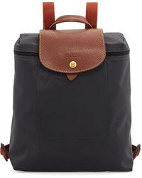 Longchamp - Le Pliage Nylon Backpack Gunmetal - Lyst