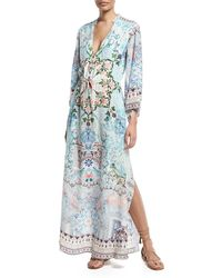 Camilla - Printed Drawstring Long-sleeve Silk Maxi Dress - Lyst