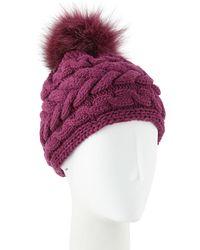 6c36a9c19f9 Inverni - Cashmere Cable-knit Beanie W  Fur Pompom - Lyst